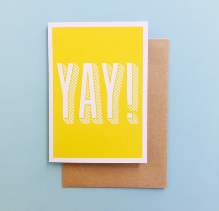 YAY! Greeting Card by CookieandCash on Etsy