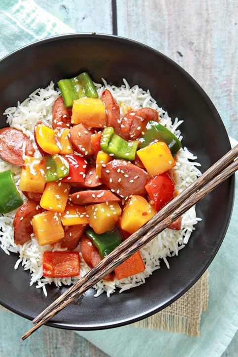 This recipe for Sweet and Sour Smoked Sausage fits in the good, but easy category. If I get everything chopped and prepped ahead of time, it only takes a few minutes to throw together. And best of all you're only using one skillet for the meal (and one saucepan for the rice) so you won't have a lot of dirty dishes at the end of a busy day.  @goodlifeeats www.goodlifeeats.com