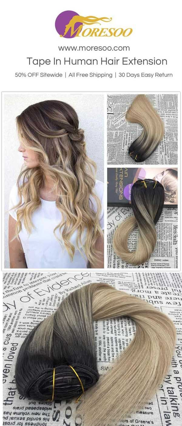 Omber balayage real clip in human hair extensions.@www.moresoo.com