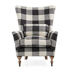 "Rio 35"" Upholstered Chair in Check Please Thunder"