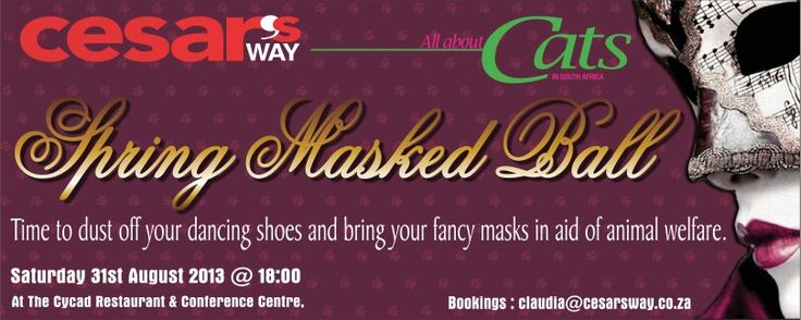 Spring Masked Ball 31 August @ The Cycad in Ramsgate KZN