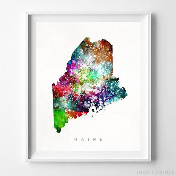 Maine Watercolor Map Wall Art Print - Prices from $9.95. Click Photo for Details - #giftideas #watercolor #map #christmasgifts #wallart #Maine