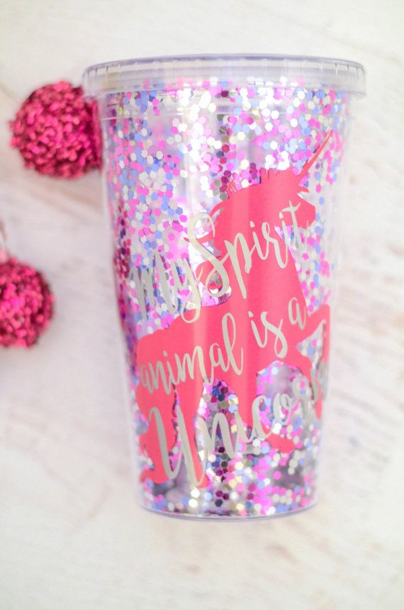 Glitter Unicorn Cup My Spirit Animal is really a Unicorn is the best thing to keep you hydrated. Glitter is in between the double walls so it moves as you drink and double insulated so you can do either hot or cold beverages. Great beach tumbler or pool tumbler on those hot days. This makes a perfect gift for any unicorn lover, friends, bridesmaids, teachers or treat yourself! Order your bridesmaids gifts or bachelorette gift today! The Unicorn is in silver and the writing is in pink but if…
