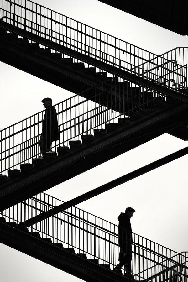 Stairs at Liljeholmen in Stockholm, Sweden: Liljeholmen, White Photography, Backlight Photography, Stockholm Sweden, Alternative Stairways, Heavens Stairs, Michael Cavén, Sweden Photo, Black