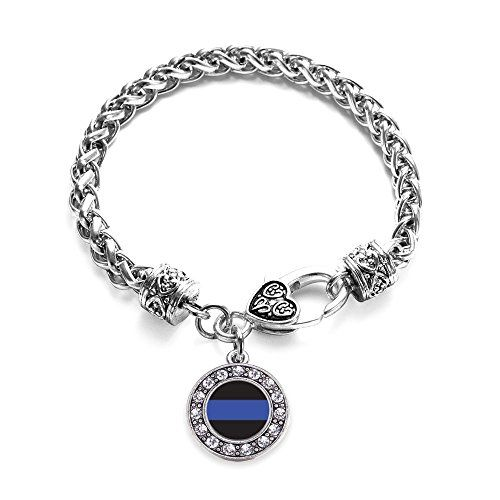 Inspired Silver Blue Line Law Enforcement Support Circle Charm Braided Bracelet Silver Plated with Crystal Rhinestones ** Learn more by visiting the image link. Note:It is Affiliate Link to Amazon.