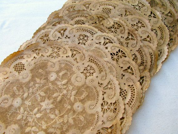 Aged Paper Doilies, Walnut Stained, Vintage Style 12, Wedding Placemats, Party Place Setting, Rustic, French, Farm Style Decor set of 10