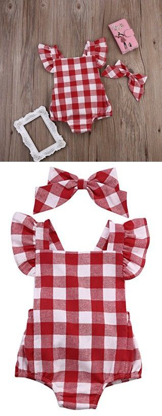 Newborn Infant Baby Girls Clothes Plaids Checks Romper Jumpsuit Bodysuit Outfits (3-6 Months, Red)