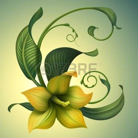 Красивые фантазии желтый цветок с зелеными листьями фигурные photo