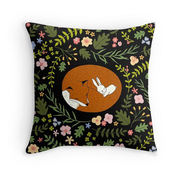 Illustration   für Kinder   niedlich   Blumen   floral   Deko   Wohnen   Kissen   Einrichten   Kinderzimmer   Fuchs und Hase   Freundschaft