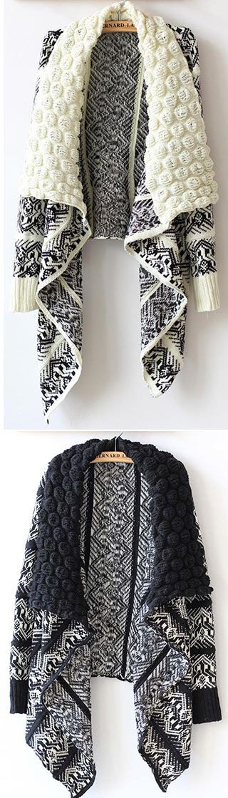 Every year during fall, there are a few pieces in your wardrobe that get the most love.The POP Knit Cardigan is made in black and white and features POP knit collar, unlined and geometry pattern. Check more info at CUPSHE.COM
