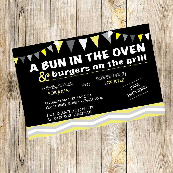 bridal shower invitations registry etiquette%0A A Bun in the Oven  u     Burgers on the Grill Baby Shower by TrishaTreeDesigns  on Etsy