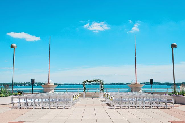 A picturesque ceremony site on the water. Monona Terrace in Madison, Wisconsin.
