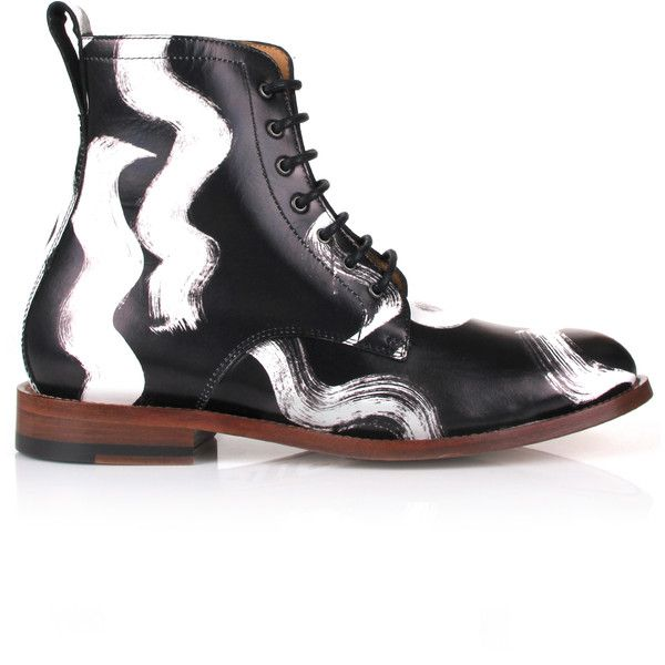 Vivienne Westwood Viviennes Squiggle Utility Boots ($879) ❤ liked on Polyvore featuring men's fashion, men's shoes, men's boots, mens caps, mens leather cap toe boots, men's utility boots, mens shoes and mens leather sole shoes