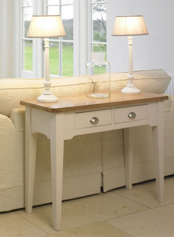 Furniture : Beige Stained Wooden Console Table Design With 2 Drawers And Also Satin Nickel Drawer Cup Pull Also Four Tapered Wooden Legs For Living Room Decoration - Modern and Unique Console Table Design