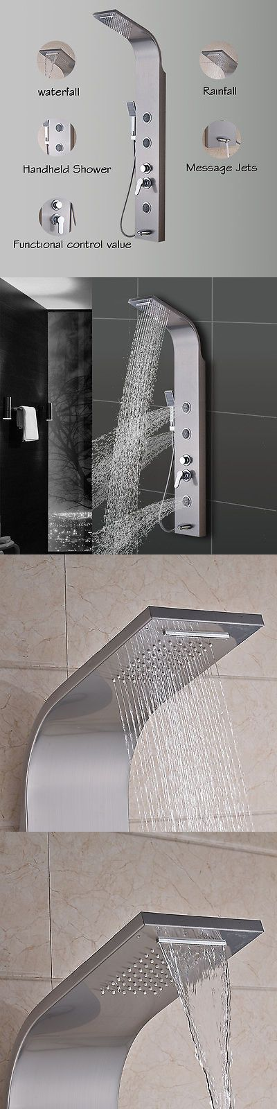 Shower Panels and Massagers 121849: Rainfall Stainless Steel Shower Tower Panel Nickel Brushed W Body Jets Sprayer -> BUY IT NOW ONLY: $89 on eBay!