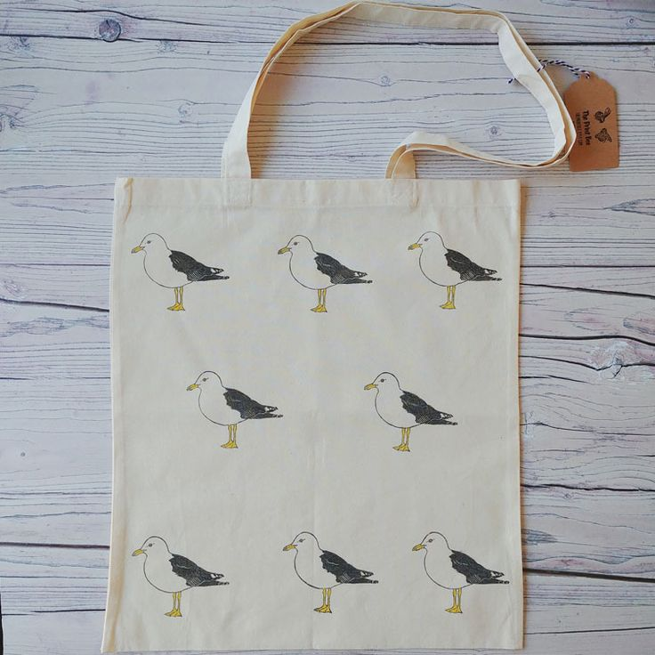 Made by The Print Bee exclusively for Sand and Seagulls. This gorgeous hand printed seagull tote bag.