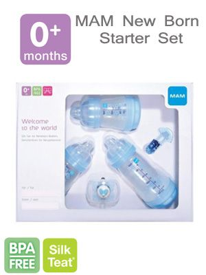 MAM new born starter set - has 3 bottles , pacifier with sterilising box and pacifier clip