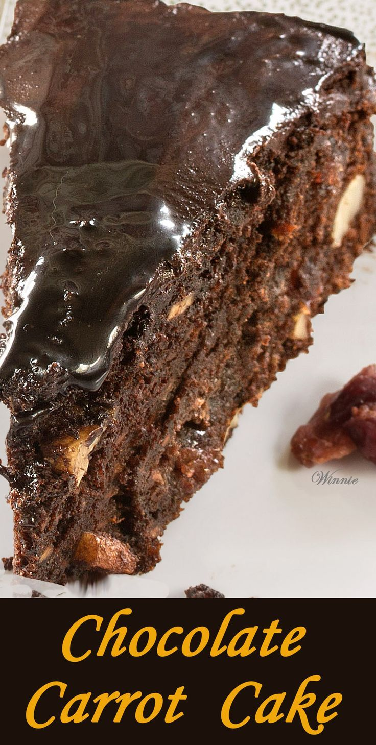 Delicious and moist Chocolate Carrot Cake - with nuts and raisins.   http://www.winnish.net/2014/08/4603/
