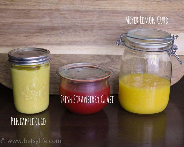 Recipe for Meyer lemon curd, pineapple curd and fresh strawb