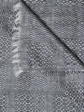 Hand-Woven Grey Tussar Silk Reversible Throw 72in x 49in