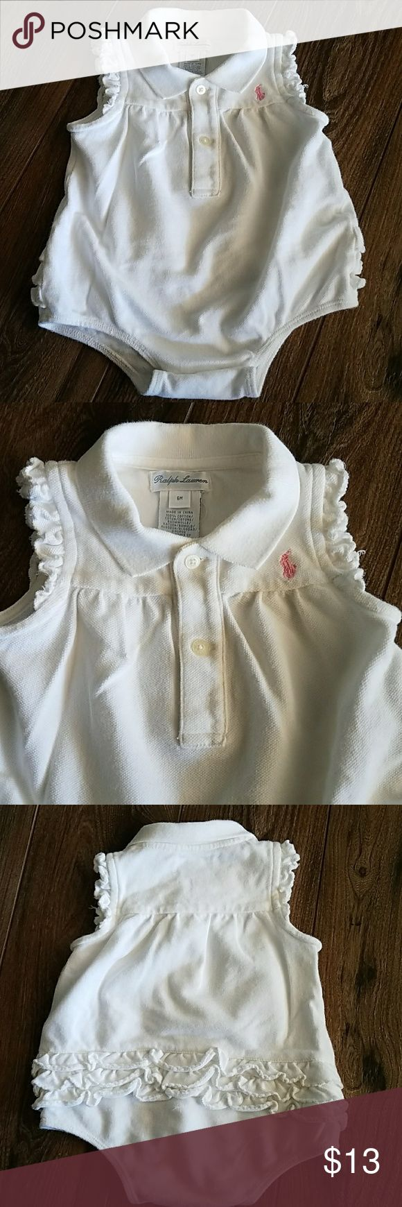 Ralph Lauren Baby Girl Romper Ribbed polo collar, three button placket, puffed short sleeves with ribbed armbands, three tiered ruffle on bottom, signature embroidered pink pony at the left chest Ralph Lauren One Pieces Bodysuits