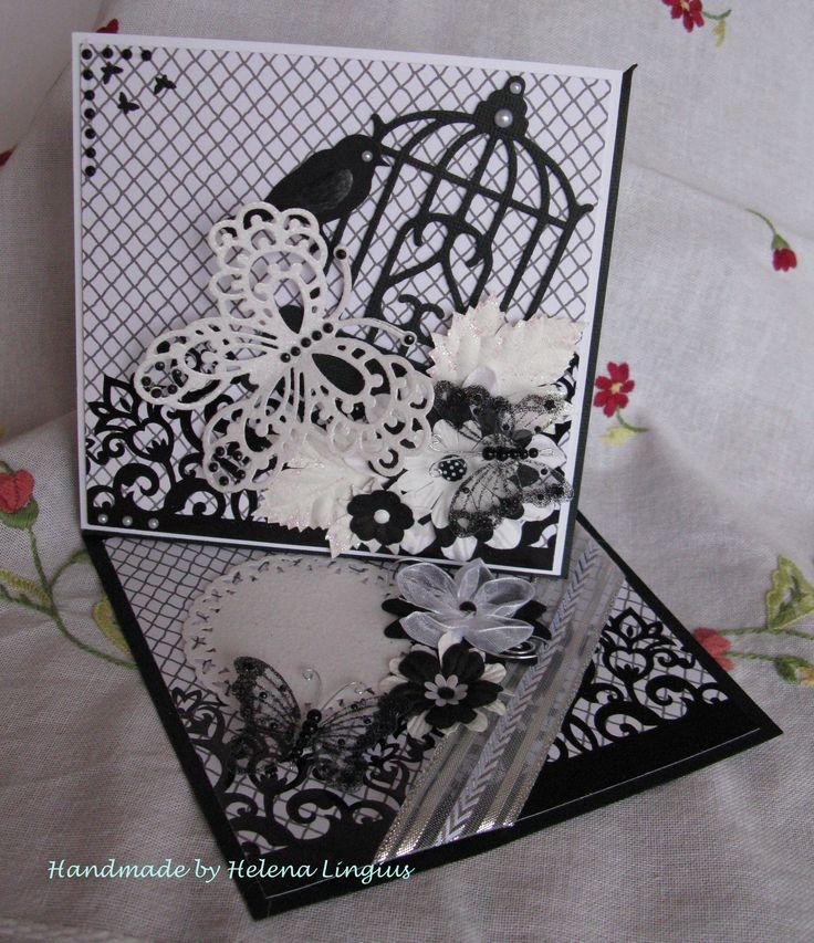 Black & white, Marianne & Spellbinder dies,  Organza butterflies and flower