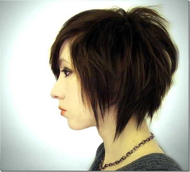 choppy and funky short hair cut