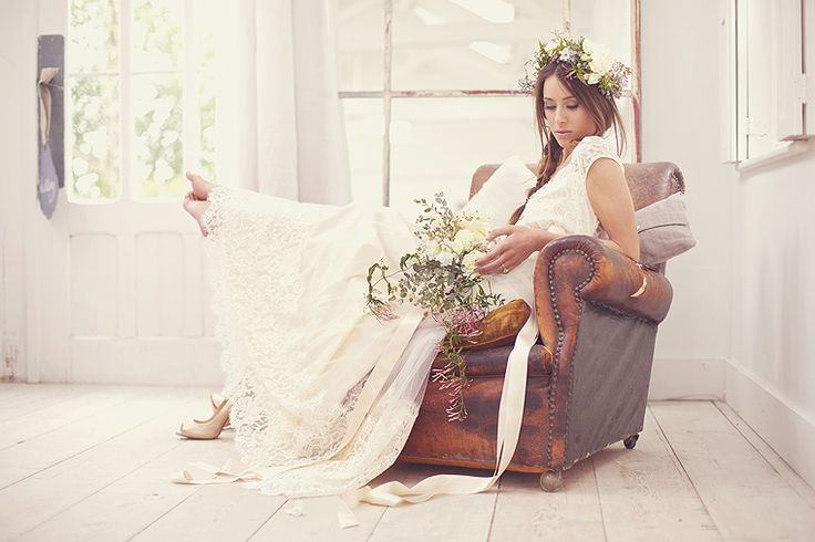 love the battered leather arm chair as well as the GORGEOUS bride