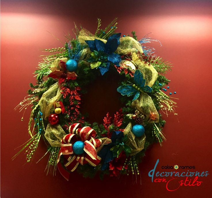Turquoise and red christmas wreath