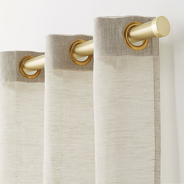 Shop White Linen Sheer Curtain Panel with Grommets. Matte nickel grommets add a contemporary touch to classic sheers. Breezy white linen diffuses light beautifully. Curtain accessories also available. also available.