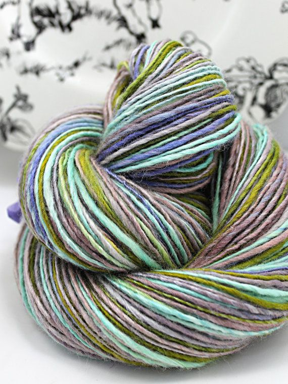 Handspun Yarn Gently Thick and Thin DK Single Blue Faced Leicester and Tussah…