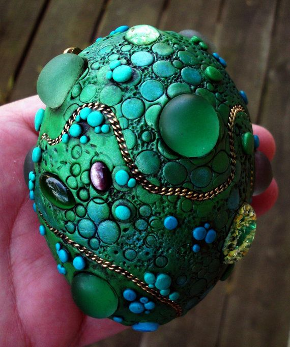Dragon Egg! Polymer clay over a duck egg with assorted found objects.