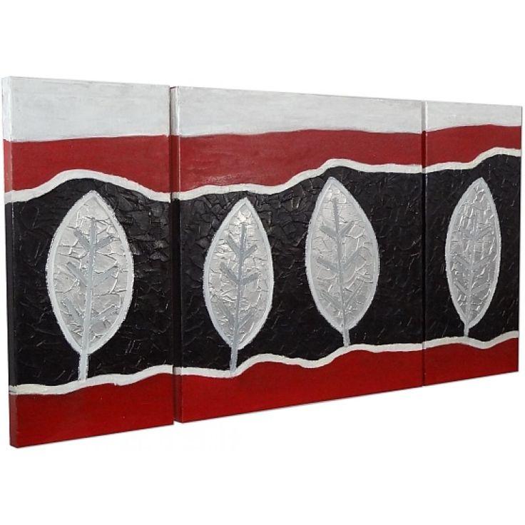 cuadro hojas blanco rojo negro gris olyarte