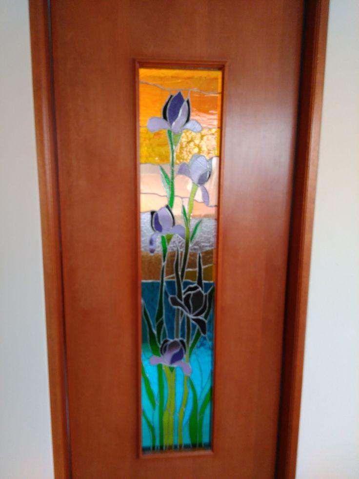 Vitral decorativo para puerta interior, departamento particular, Lima, Perú.