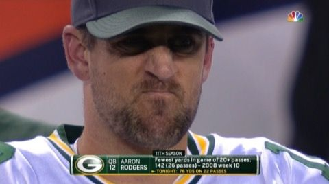 Say Hello to Rodgersface -- The Manning boys have Manningface. Well, say hello to Rodgersface. It doesn't appear often, but when it does, you know the Green Bay Packers are getting killed.