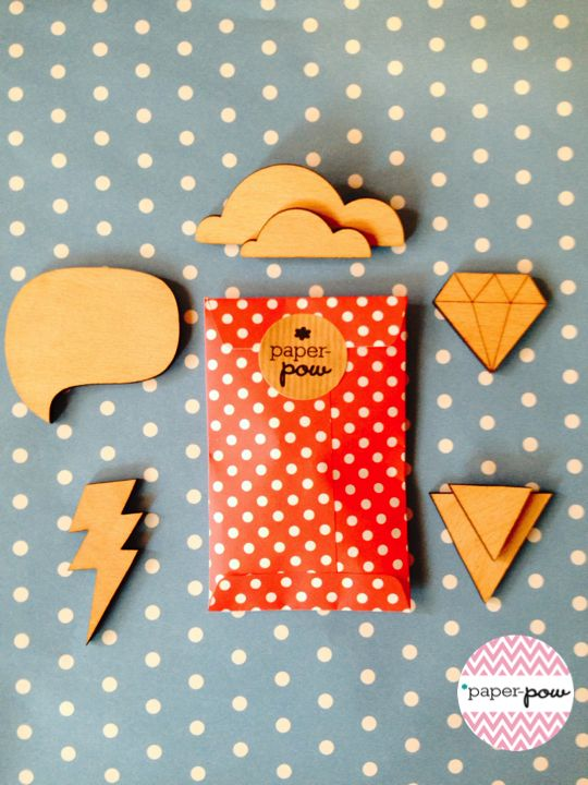 Wooden brooches by *Paper-pow