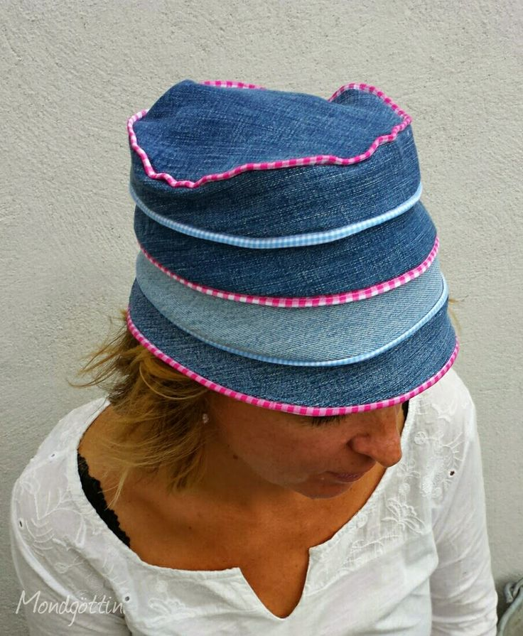 hut aus alten jeans hat made from old pair of jeans upcycling m tzen pinterest. Black Bedroom Furniture Sets. Home Design Ideas