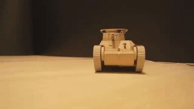 Motorized model tank built from Amazon boxes