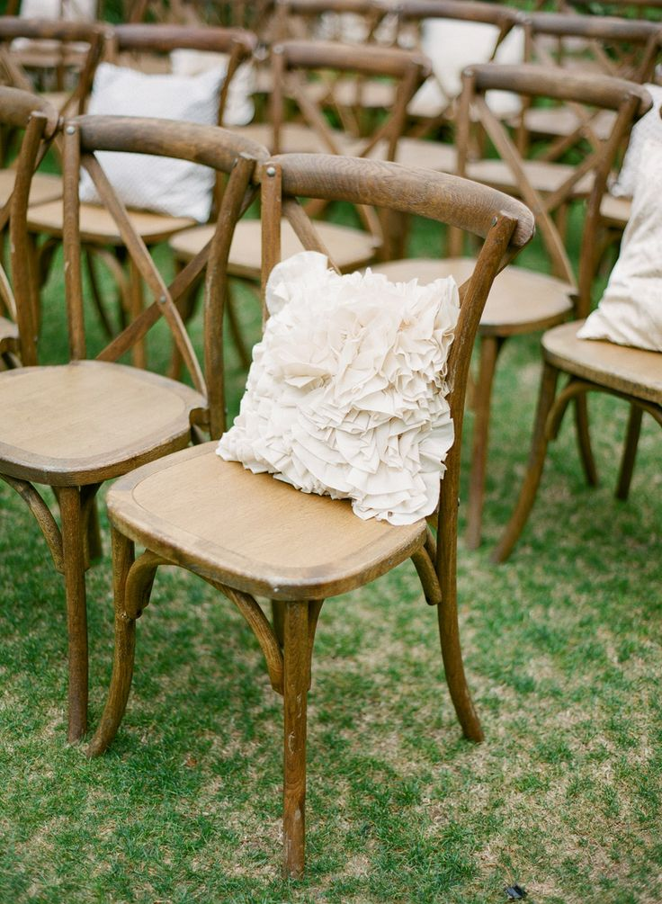 Nice Ruffled Pillows And Vintage Wooden X Back Chairs. Wedding Ceremony Decor.  Image By