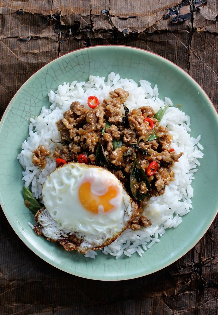 PAD KA PRAO. One of our most popular dishes from September. This classic Thai street stall dish that translates to stir-fried pork and basil. Topped with a fried egg, we give you enough chillies to make this as hot or as mild as you like.   30 Minutes. Great for lunch or dinner.