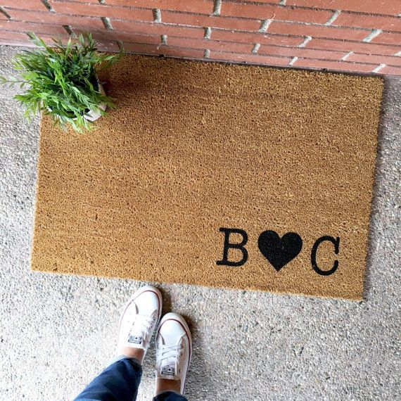 the custom initials doormat - couple's initials - by theCHEEKYdoormat - custom doormat - custom welcome mat - cute doormat - cute welcome mat - home decor - front porch - apartment decor