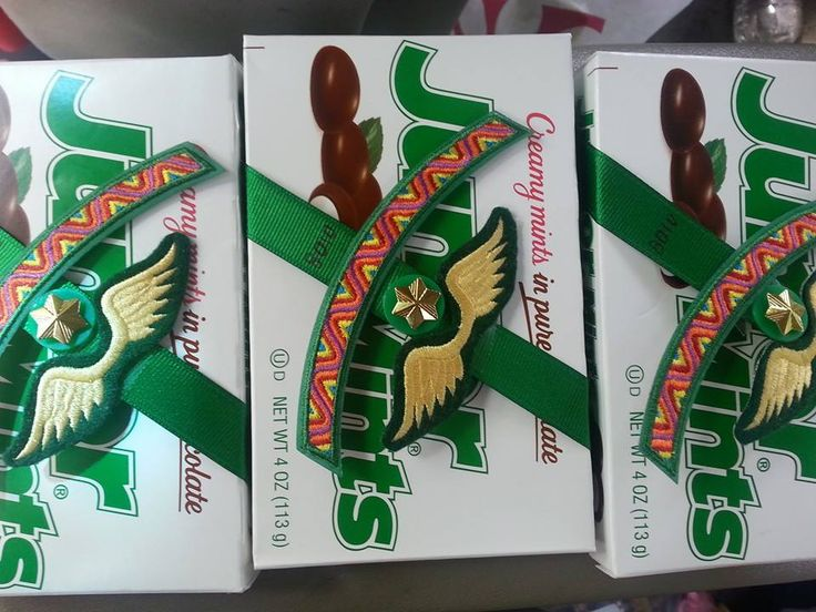 """Girl Scout Bridging Tip: """"Crossing the bridge, our Daisies handed off their daisy bouquet and received a wrapped brownie. Brownies handed off their brownie and received a box of Junior Mints."""" Angie B."""