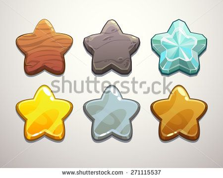Set of wooden, stone, diamond, golden, silver and bronze stars. Vector elements for game design. - stock vector