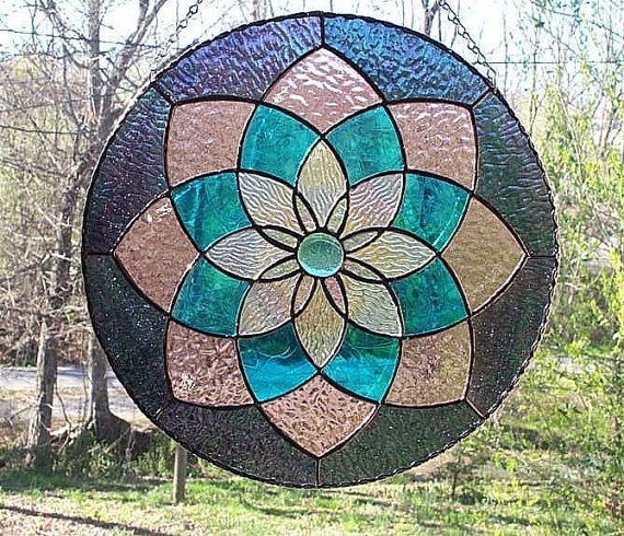 Stained Glass Pinwheel Panel Suncatcher-SOLD Please contact us if you would like to order this panel.