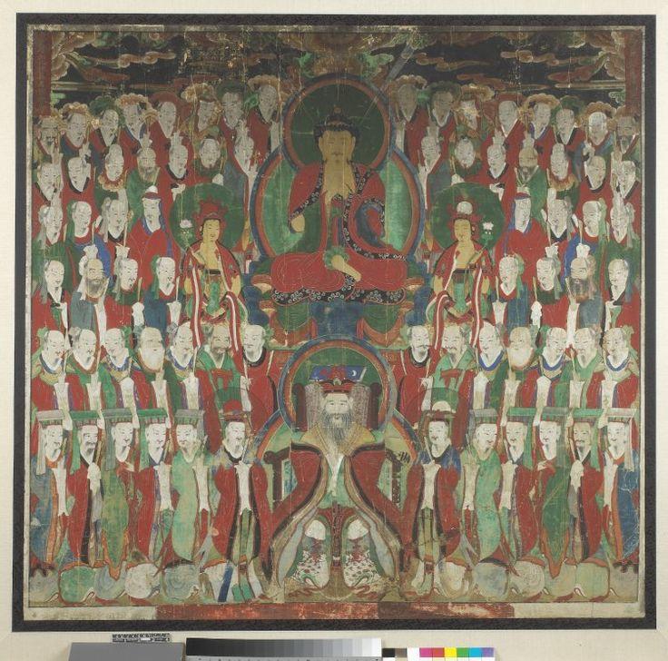 Buddha Tejaprabha and other heavenly deities. Korea, Choson dynasty, circa 1850-1860. London, British Museum.