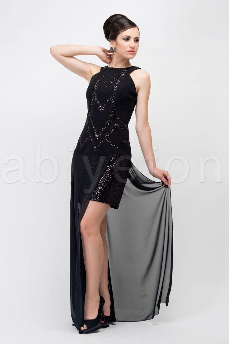Fotos 2013 arkas uzun elbise abiye modelleri picture -  N K Sa Arkas Uzun Siyah Abiye Elbise O6901