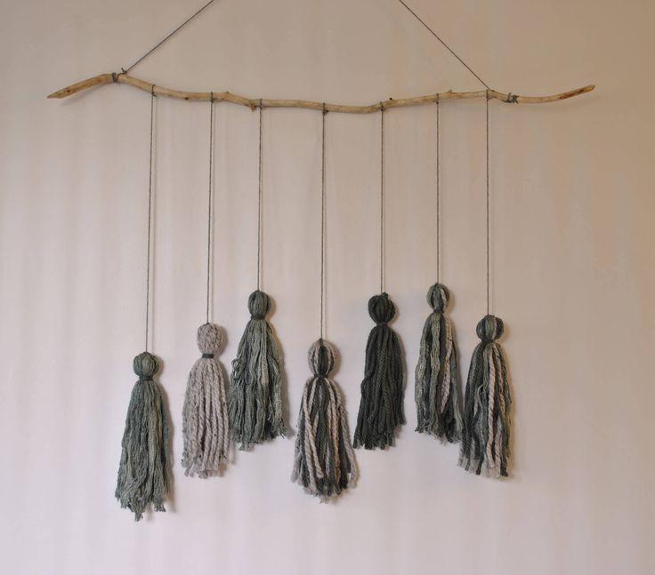 Tassel wallhanging, bohemian tassel hanging, hippie decor, photo prop, shabby chic, nursery mobile, hippie hanging, nursery tassel hanging, by pamelasunshinedesign on Etsy