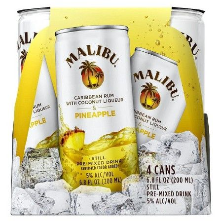 Malibu Caribbean Rum with Coconut Liqueur & Pineapple Still Pre-Mixed Drink 6.8 oz, 4 pk : Target