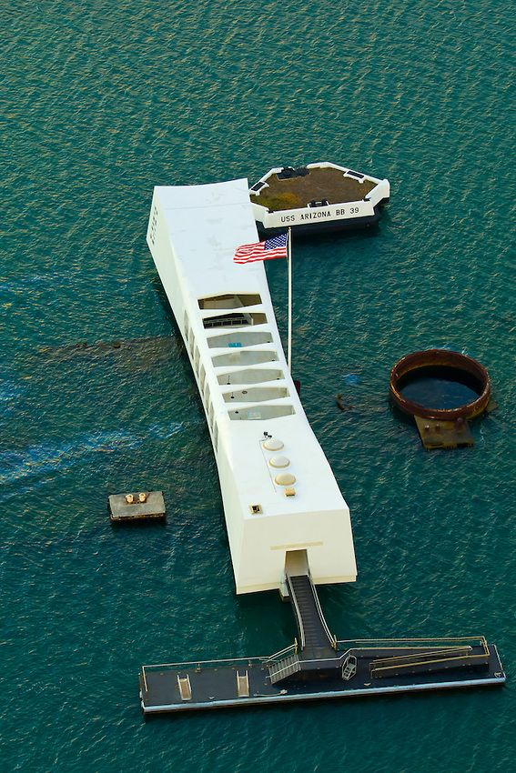 Aerial view of the USS Arizona Memorial, Pearl Harbor, Honolulu, Oahu, Hawaii, USA  #MWHONEYMOON