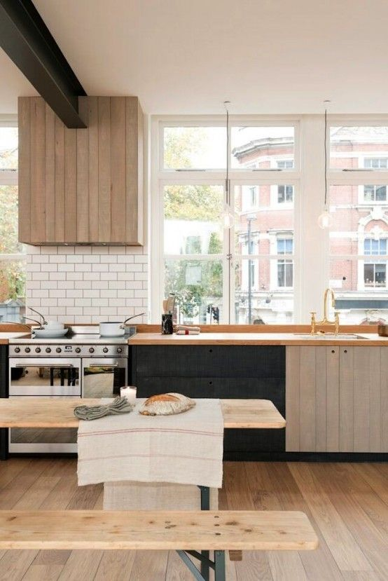 Urban Rustic Kitchen Design With Industrial Touches And Contrasts | DigsDigs